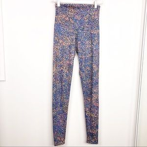 Onzie Blue Floral Printed High Rise Leggings